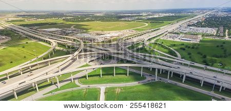 Panoramic Vertical View Katy Freeway Interstate 10 Stack Interchange