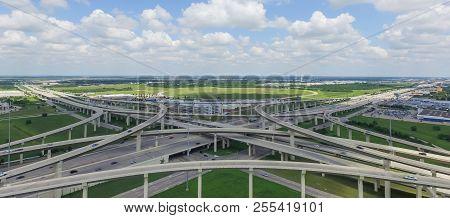 Panoramic Flyover Katy Freeway Interstate 10 Stack Interchange Cloud Blue Sky