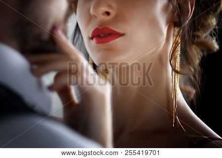 Body Part. Sexy Elegant Luxury Woman Female With Red Lips Tempts Millionaire Rich Male Man In Skirt.