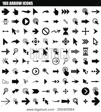 100 Arrow Icon Set. Simple Set Of 100 Arrow Icons For Web Design Isolated On White Background