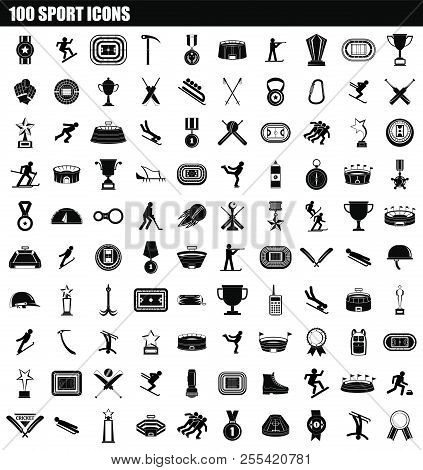 100 Sport Icon Set. Simple Set Of 100 Sport Icons For Web Design Isolated On White Background