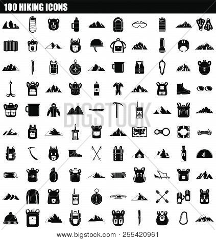 100 Hiking Icon Set. Simple Set Of 100 Hiking Icons For Web Design Isolated On White Background