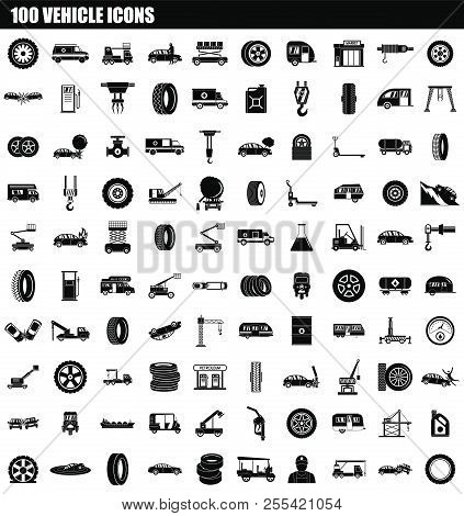 100 Vehicle Icon Set. Simple Set Of 100 Vehicle Icons For Web Design Isolated On White Background