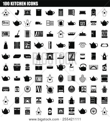 100 Kitchen Icon Set. Simple Set Of 100 Kitchen Icons For Web Design Isolated On White Background