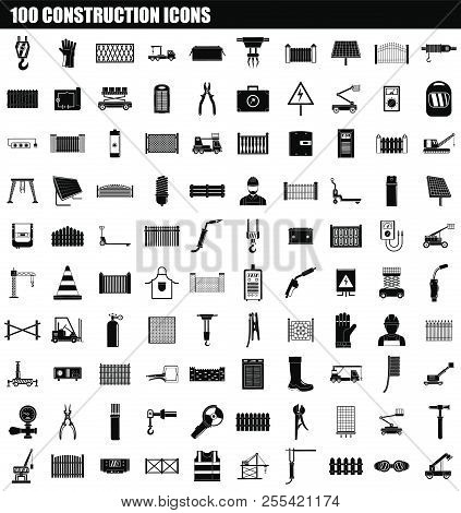 100 Construction Icon Set. Simple Set Of 100 Construction Icons For Web Design Isolated On White Bac