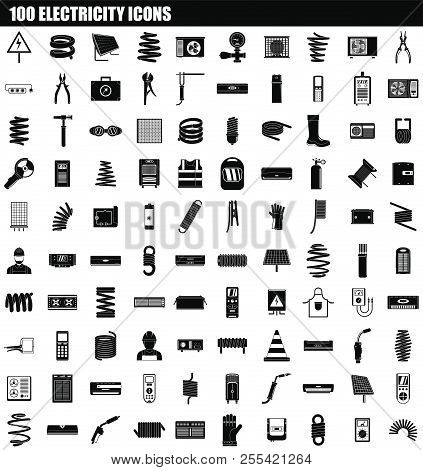 100 Electricity Icon Set. Simple Set Of 100 Electricity Icons For Web Design Isolated On White Backg