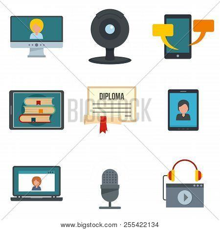 Webinar Training Online Learning Icons Set. Flat Illustration Of 9 Webinar Training Online Learning