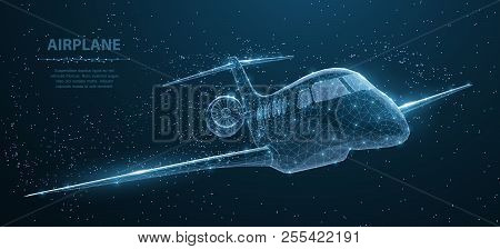 Airplane. Abstract 3d Polygonal Wireframe Airplane On Blue Night Sky With Dots And Stars.