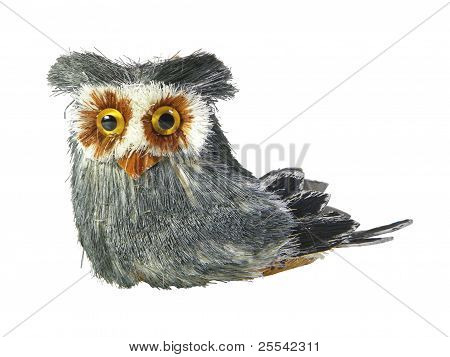 Barn owl puppet isolated over white background poster