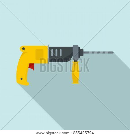 Hammer Drill Icon. Flat Illustration Of Hammer Drill Icon For Web Design