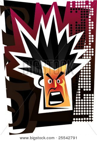 Angry face. Vector illustration.