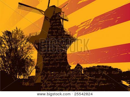 Landscape with old mill. Vector illustration.