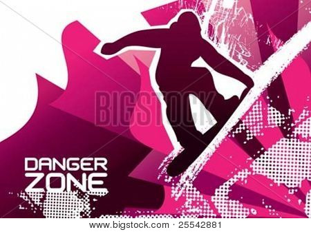 Snowboarding poster. Vector illustration.
