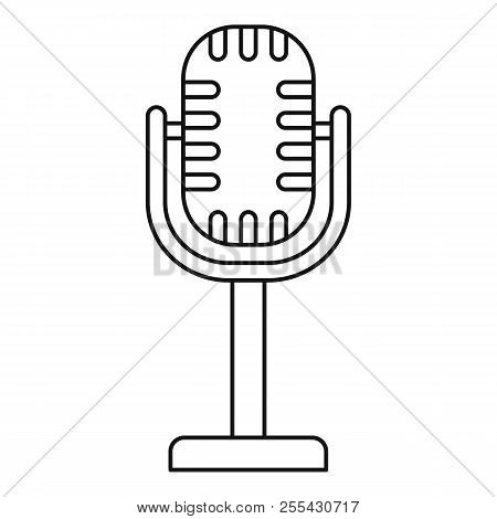 Studio Microphone Icon. Outline Studio Microphone Icon For Web Design Isolated On White Background