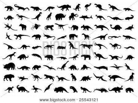 Dinosaur silhouettes isolated on white. Vector illustration.