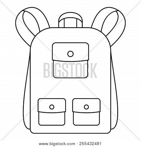 Traditional Backpack Icon. Outline Traditional Backpack Icon For Web Design Isolated On White Backgr