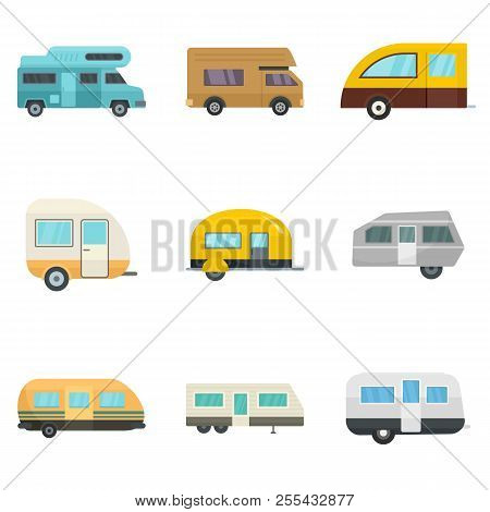 Motorhome car trailer camp house icons set. Flat illustration of 9 motorhome car trailer camp house icons isolated on white poster