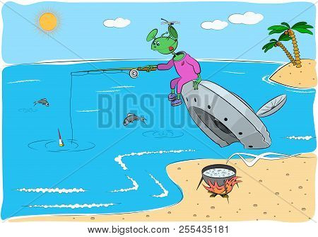 A Funny Alien Are Fishing, Sitting On A Crashed Flying Saucer. Vector Illustration In Flat Style.