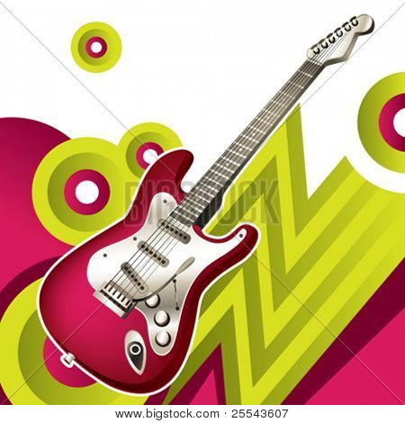 Designed background with electric guitar. Vector illustration.