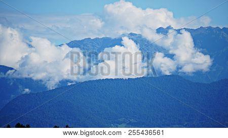 Mountain Peak Range Landscape. Green Mountain Range View. Mountain Peak Blue Sky White Clouds Panora