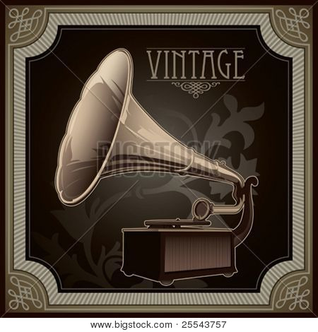 Vintage background with old gramophone. Vector illustration.