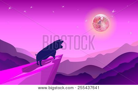 Cliff Background Violet Where Pig Take Adventure In Jungle. Stand On Cliff Look To The Moon In Aroun