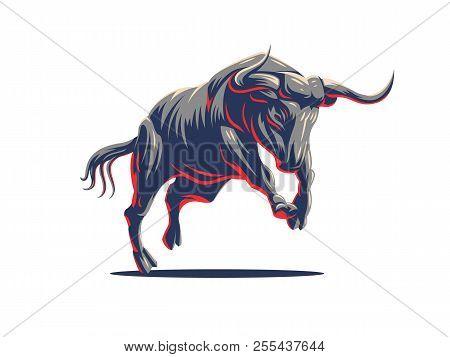 Bull With Big Horns. Wildlife. Vector Illustration.