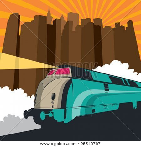 Artistic illustration with locomotive and city panorama. Vector illustration.