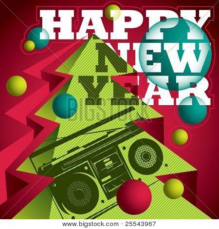 Modern designed New Year banner. Vector illustration.