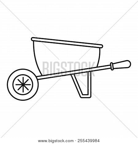 One Wheel Barrow Icon. Outline One Wheel Barrow Icon For Web Design Isolated On White Background