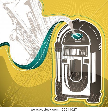 Designed conceptual background with jukebox. Vector illustration.