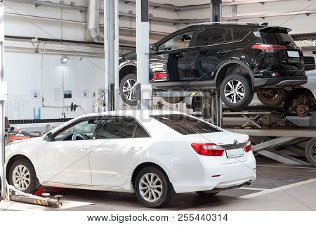Russia, Izhevsk - April 21, 2018: Automobile Workshop. Car Repair In The Workshop.