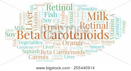 Beta Carotenoids Word Cloud. Wordcloud Made With Text Only.