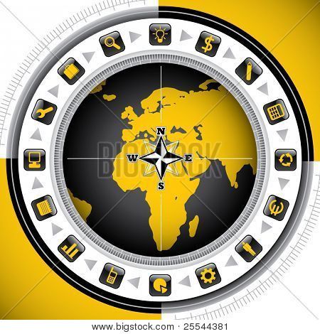 Worldwide background with business icons. Vector illustration.