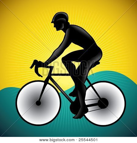 Stylized illustration of bicycle driver. Vector illustration.