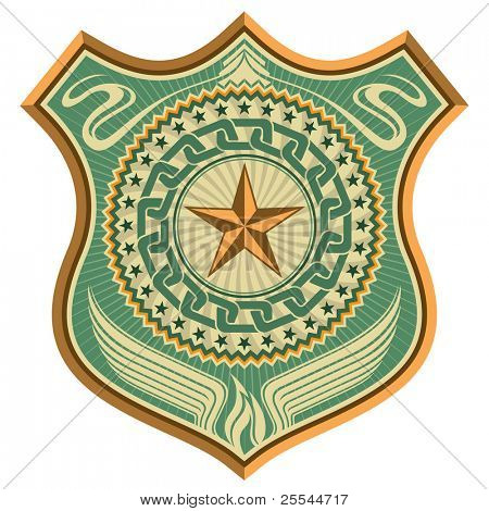 Illustrated conceptual crest with star. Vector illustration.