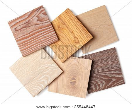 Set Of Small Samples Of Wooden Parquet For The Designer. Isolated On White Background