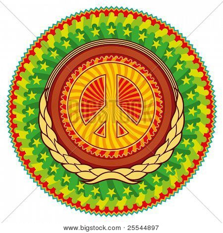 Colorful psychedelic hippie emblem with peace sign. Vector illustration.