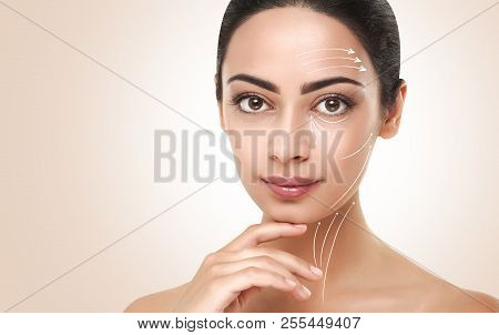 Antiaging treatment. Massage and contouring lines on neat model poster
