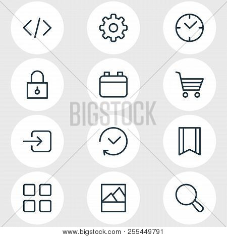Illustration Of 12 Application Icons Line Style. Editable Set Of Calendar, Image, Code And Other Ico