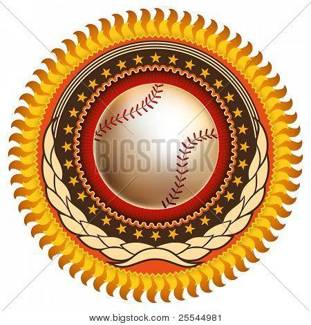 Colorful illustration of baseball emblem. Vector illustration.