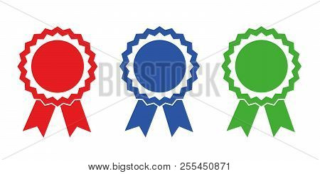 Champion Award Medals Red Blue Green Vector Illustration Eps10