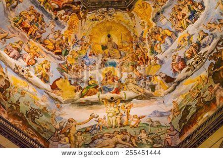 Florence, Italy - September 25, 2017 Giorgio Vasari Fresco Jesus Christ Last Judgment Dome Duomo Cat