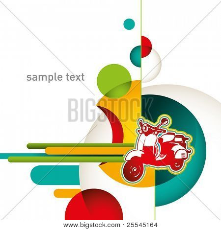 Urban layout with designed colorful objects. Vector illustration.