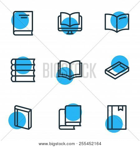 Vector Illustration Of 9 Book Reading Icons Line Style. Editable Set Of Book, Ebook, Notepad And Oth
