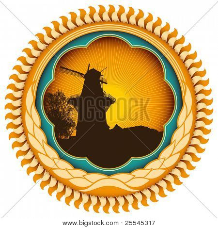 Stylish vintage label with windmill. Vector illustration.