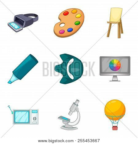 Vision Icons Set. Cartoon Set Of 9 Vision Icons For Web Isolated On White Background