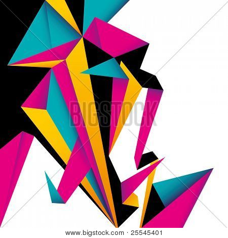 Colorful abstract composition with designed shapes. Vector illustration.