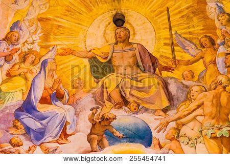 Beijing, China - November 25, 2017 Giorgio Vasari Fresco Jesus Christ Last Judgment Dome Duomo Cathe