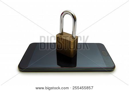 Isolate Unlocked Smartphone Lock Internet Phone Hand  Press The Phone To Communicate In The Internet